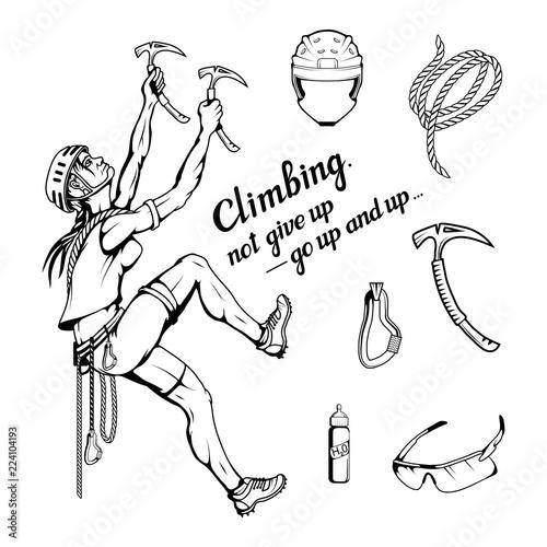 alpinist slogan with girl, woman mountaineer, alpine climbing, alpinism, mountai Tableau sur Toile
