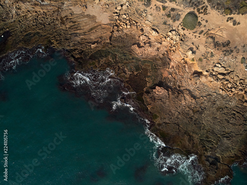 Fotobehang Kust Aerial view of sea and rocky coast. Spain