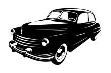 Retro Vintage Car Isolated On White Background