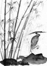 Illustration Of Watercolor Heron And Bamboo
