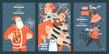 Set Of Funny Cards For Christmas And New Year. Vector Illustration In Cartoon Style