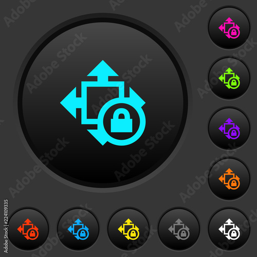 Fotografie, Obraz  Size lock dark push buttons with color icons