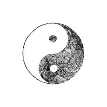 Black And White Watercolor Yin And Yang Symbol On White.