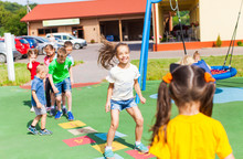 Entertaining Physical Education Lesson In The Summer Outdoors