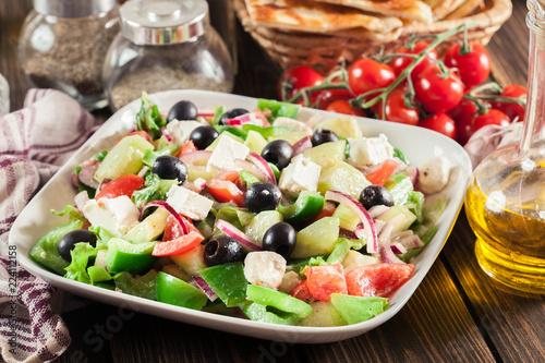Fotografie, Obraz  Greek salad with fresh vegetables