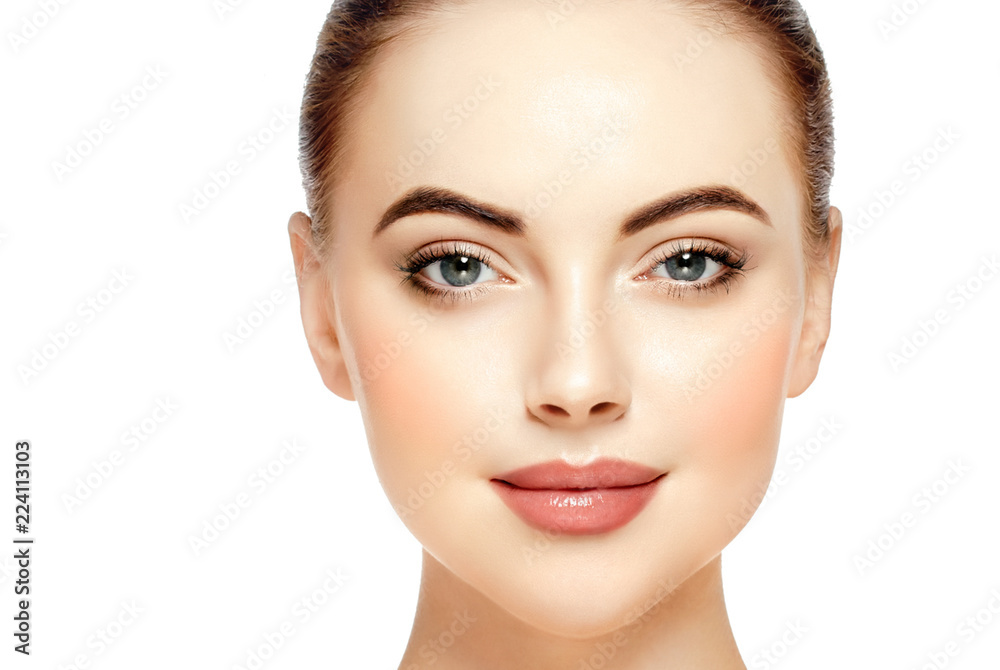 Fototapety, obrazy: Beautiful face woman close up with healthy skin isolated on white