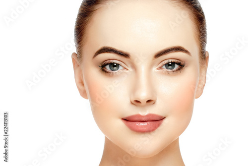 Fényképezés  Beautiful face woman close up with healthy skin isolated on white