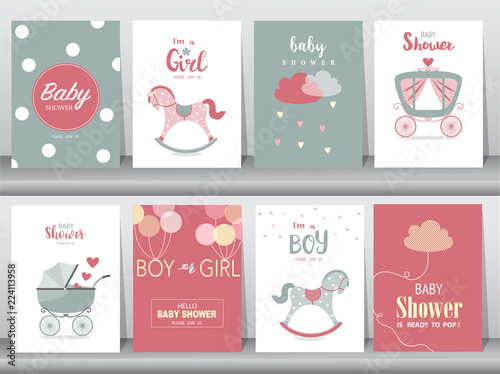 Set of baby shower invitation cards,birthday cards,poster,template,greeting card Canvas-taulu