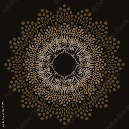 Fotografia, Obraz  graphic doily flake in transparent shades of gold on black