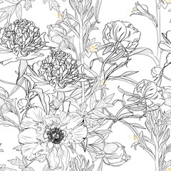 Peony rose flowers seamless pattern. Blooming spring summer line flowers illustration. White background.
