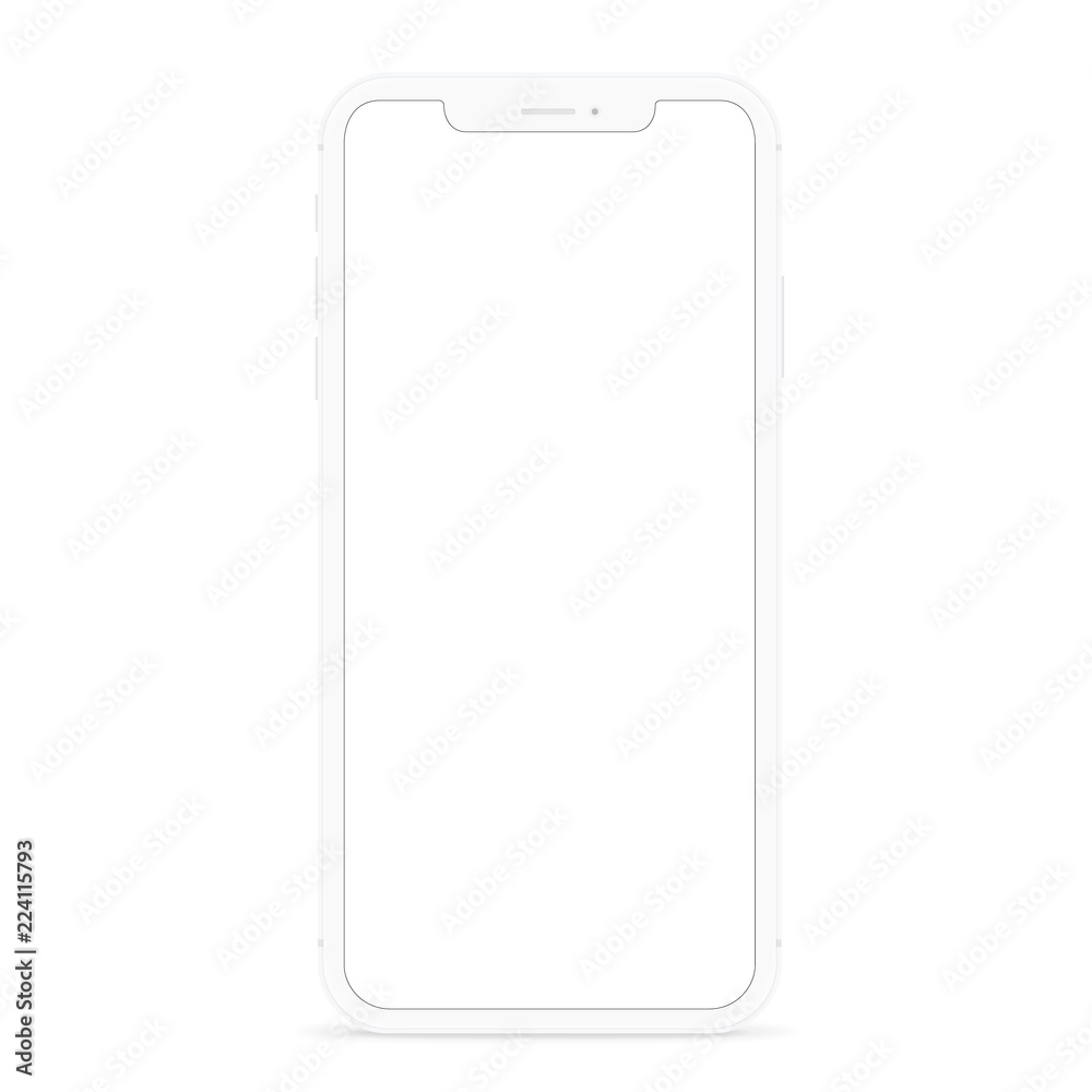 Fototapety, obrazy: vector drawing modern smart phone, white flat phone design white screen