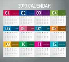 Year 2019 Calendar Vector Design Template