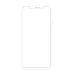 vector drawing modern smart phone, white flat phone design white screen
