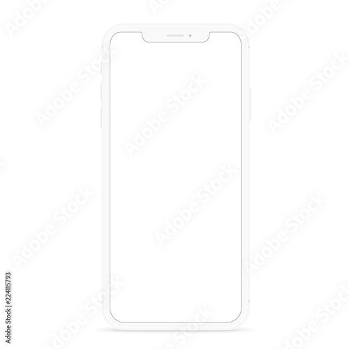 vector drawing modern smart phone, white flat phone design white screen Fototapete
