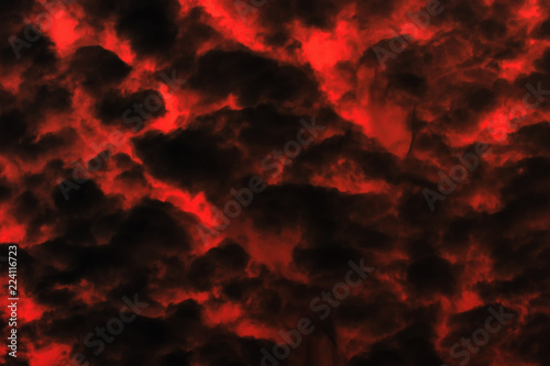 Obraz na plátně  Red and black cloudy sky, background texture