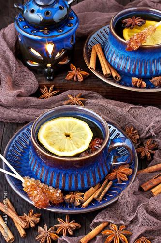Staande foto Thee Hot tea with lemon. Healthy drink.