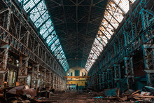 Abandoned Factory, Red Brick Walls, Broken Windows, Ruin, Mud, Old Building, USSR, Post-apocalypse, Urbex