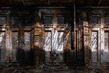 Abandoned Factory, Red Brick Walls, Broken Windows, Ruin, Mud, Old Building, USSR, Post-apocalypse, Urbex