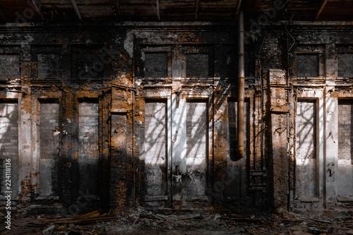 Obraz na płótnie abandoned factory, red brick walls, broken windows, ruin, mud, old building, USS