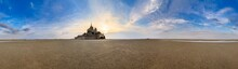 Beautiful 360 Degree Panorama Of Historic Landmark Le Mont Saint-Michel In Normandy, France, A Famous UNESCO World Heritage Site And Tourist Attraction, At Sunset