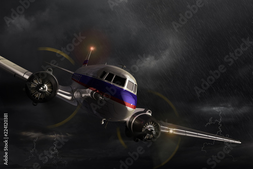 Airplane Dakota in the storm. Canvas Print