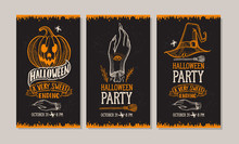 Halloween Party Invitation With Hand-drawn Illustrations.