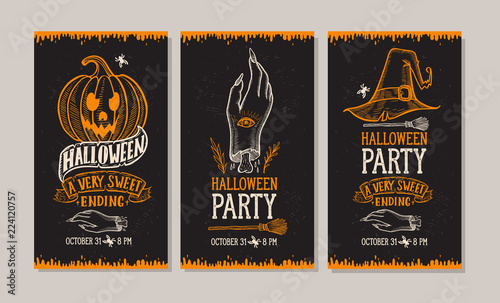 Spoed Fotobehang Halloween Halloween party invitation with hand-drawn illustrations.