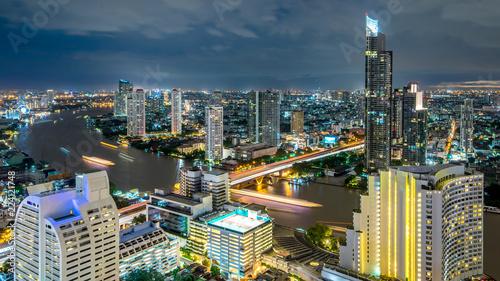 Seoul Bangkok city - Aerial view curve Chao Phraya River Bangkok city downtown skyline of Thailand , Panoramic Cityscape Thailand