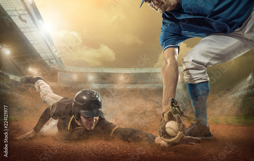 Foto  Baseball players in action on the stadium.
