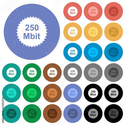 Fotografia  250 mbit guarantee sticker round flat multi colored icons