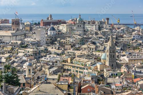 Cityscape of Genoa from Spianata Castelletto
