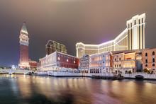 Evening View Of Buildings In Venetian Gothic Style, Cotai, Macau
