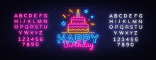 Happy Birthday Neon Text Vecto...