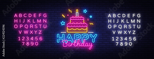 Photo  Happy Birthday Neon Text Vector