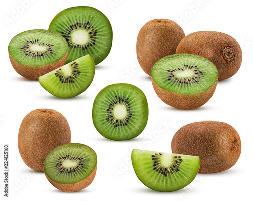 Valokuva Collections kiwi fruit cut in half, whole, slice
