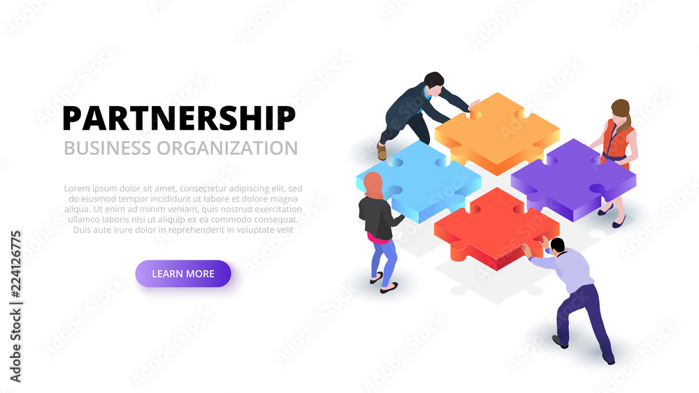 Fototapeta Vector isometric illustration with people holding a puzzle piece. Teamwork concept banner. Landing page.