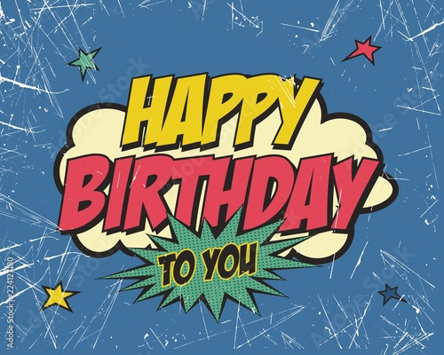 Canvas Print Happy birthday style vintage. Vector illustration.