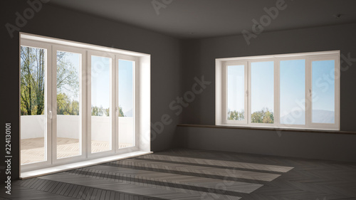 Fototapeta Modern empty space with big panoramic windows and wooden floor, minimalist gray architecture interior design obraz na płótnie
