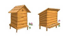 Set Of Wooden Beehives Isolate...