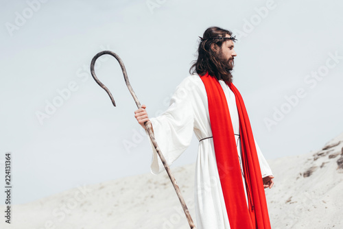 side view of Jesus in robe, red sash and crown of thorns standing with wooden st Wallpaper Mural