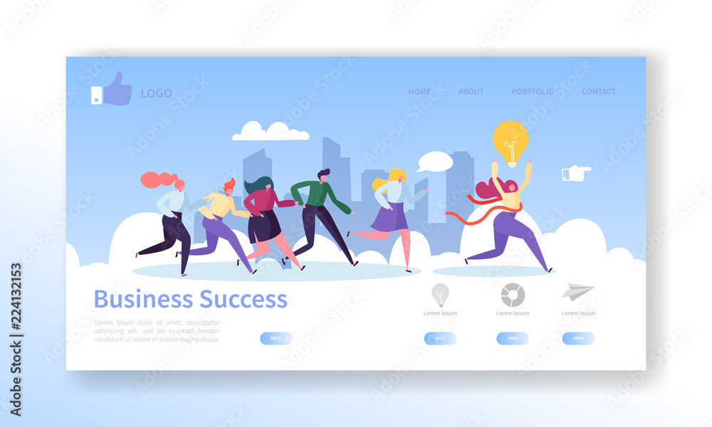 Fototapeta Business Success Landing Page Template. Website Layout with Flat People Characters Running to Finish. Leadership Concept. Easy to Edit and Customize Mobile Web Site. Vector illustration