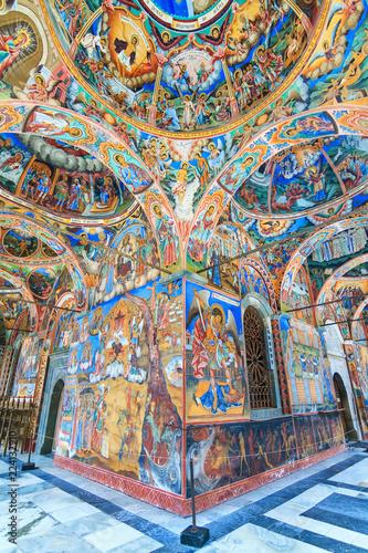Fotografie, Obraz  Beautiful view of the vibrant decoration of the Orthodox Rila Monastery, a famou