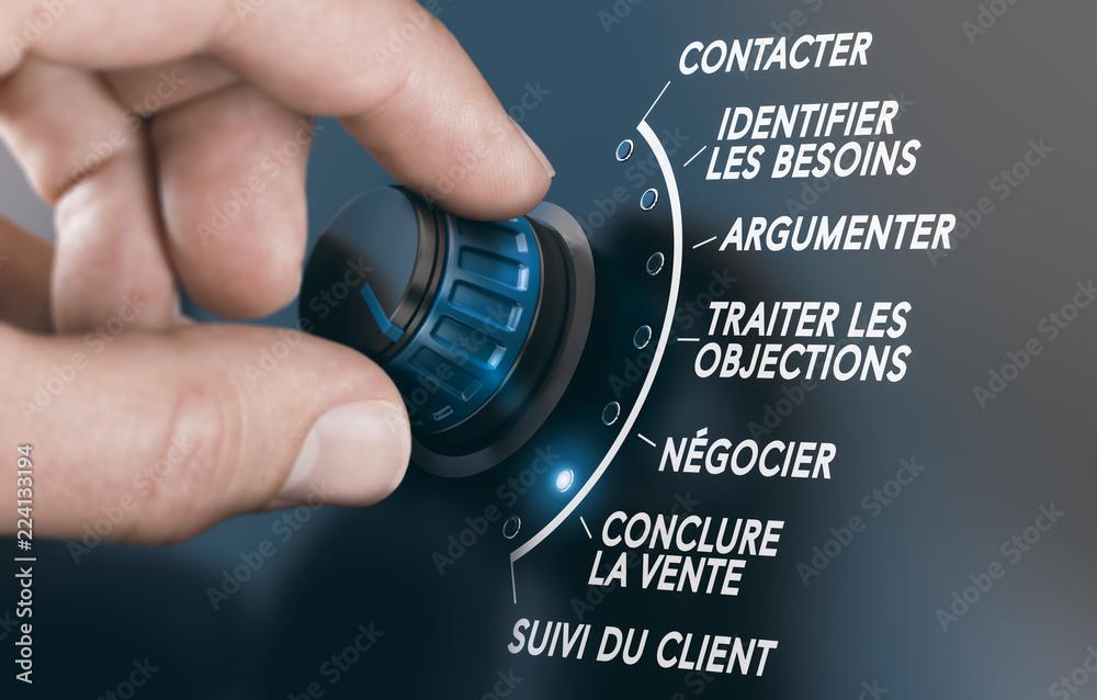 Fototapeta Techniques de vente, étapes et stratégie commerciale des forces de vente pour vendre un produit ou un service à un client.