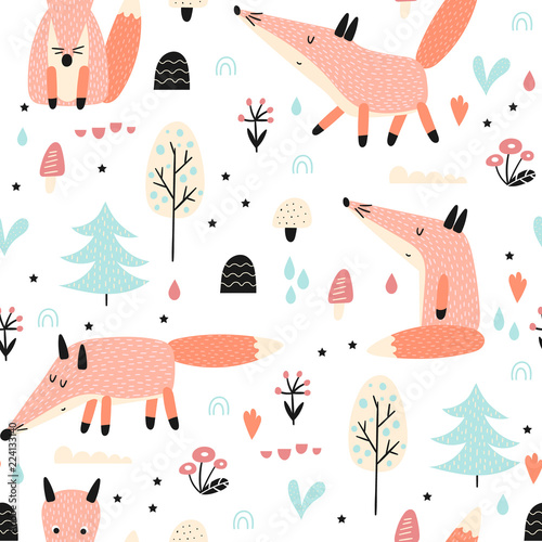 seamless-pattern-with-fox-in-forest