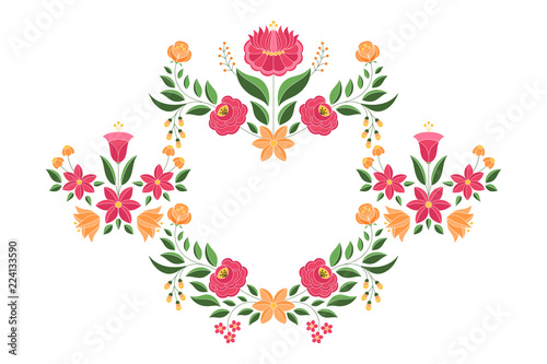 Photo Hungarian folk pattern vector frame