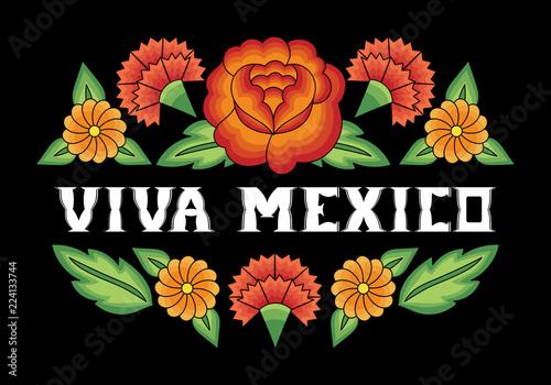 Fototapeta Viva Mexico Illustration Typography Vector Traditional Flower Embroidery Ornament Pattern Frame Background Design For Fiesta Banner