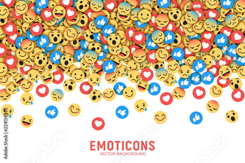 Vector Flat Design Modern Emoji Conceptual Abstract Art Illustration on White Background. Social Network Web Emoticons for Internet, App, Advertisement, Promotion, Marketing, SMM, CEO, Business