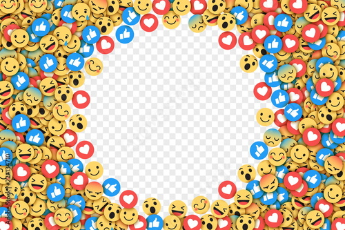 Vector Flat Design Modern Emoji Conceptual Abstract Art Illustration on Transparent Background. Social Network Web Emoticons for Internet, App, Advertisement, Promotion, Marketing, SMM, CEO, Business