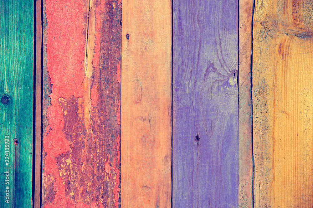 Fototapety, obrazy: Background of multi-colored wooden boards