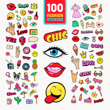 Fashion Stickers And Badges With Lips, Hands And Comic Speech Bubble. Teen Style Doodle. Vector Illustration